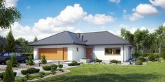 Projekt domu MT Ariel paliwo stałe CE - DOM - gotowy koszt budowy Affordable House Plans, Bungalow House Plans, Shed, Villa, New Homes, Outdoor Structures, House Design, Vacation, How To Plan