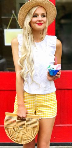 #summer #outfits  White Tank   Yellow Gingham Short   Wood Clutch