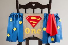Superman baby banner with blue ribbons with stars and red cape makes cute party decoration for one year old baby boy Superman Birthday Party, Boy First Birthday, Superhero Party, Boy Birthday Parties, Birthday Ideas, Baby Boy Messages, Baby Banners, Bunting Banner, One Year Old Baby