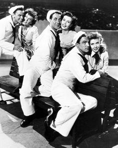 "Gene Kelly, Frank Sinatra, Betty Garrett, Ann Miller, Jules Munshin, Vera Ellen in ""On the Town"" (1949). DIRECTOR: Stanley Donen, Gene Kelly."