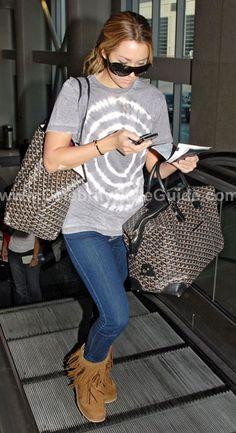 Lauren Conrad Style and Fashion - Kettle Black Koolaburra Ankle Fringe Boots on Celebrity Style Guide