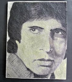 Pikscape fresco art black and white portrait on Indian raw green stone of the great Amitabh Bachan.