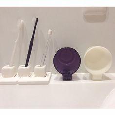 女性で、の歯ブラシ/歯ブラシホルダー/ホワイト/フランフラン/Francfranc/ホワイトインテリア…などについてのインテリア実例を紹介。「歯ブラシの下に珪藻土のコースターのまっ白が売ってたので購入! これで常に濡れてる状況が緩和になるかな? 歯ブラシ立てはダイソー。 右のコップは水滴が流れるコップ。」(この写真は 2016-08-21 21:48:20 に共有されました)