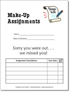 Easy Way to Organize Make Up Work - they print and attach this to late work, turn in as late work pass? Modify a bit....