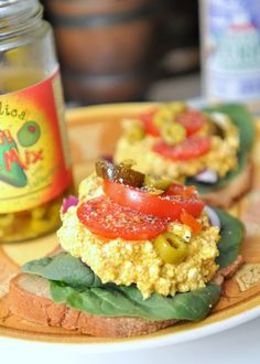 Wasabi-Ginger Curried Tofu Salad on Homemade Gluten Free Bread