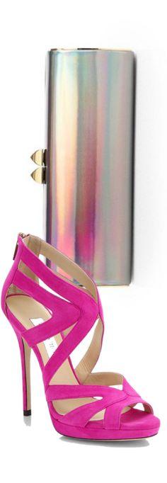 Jimmy Choo Charm Disco Mirror Box Clutch(Slate) & Sandle In Jazzleberry