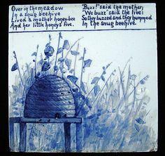 Amazing blue bee tile - Minton Aesthetic Movement nursery-rhyme tile, circa 1880s.