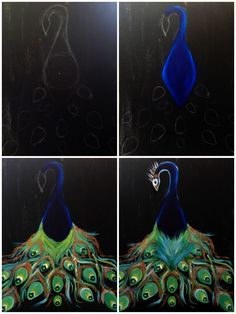 """Evolution of """"Peacock Beauty"""" painted @ Painting with a Twist Miami"""