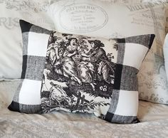 Handmade Country French Black Toile and Gingham Check Accent Pillow, Elegant French Pillow or Cushion, Parisian Home DecorLSD French Country Decorating, Country French, Country Farmhouse, Farmhouse Decor, Personalized Pillows, Handmade Pillows, Dog Room Decor, French Pillows, Dog Spaces