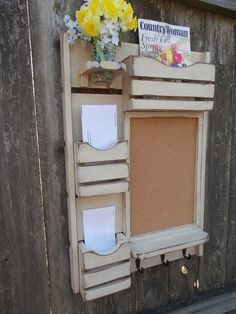 Items similar to Message Center /Mail Organizer/Kitchen Decor/Office Decor /Magazine Holder/Family Message Board on Etsy
