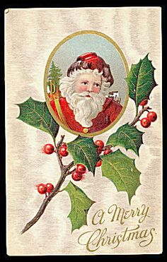 Santa Claus in Holly 1908 Postcard. Click on the image for more information.