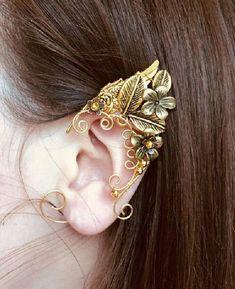 Ear Jewelry, Cute Jewelry, Jewelry Accessories, Women Jewelry, Skull Jewelry, Hippie Jewelry, Jewellery, Elf Ear Cuff, Ear Cuffs