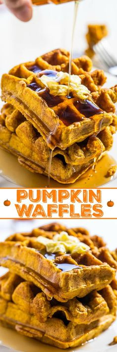 Pumpkin Waffles – Bold pumpkin flavor in every bite of these easy waffles!! Doused with maple syrup they're a perfect comfort food breakfast that everyone will love!!