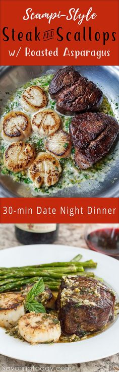 """Skip the crowded restaurant scene and make this Scampi-Style Steak & Scallops recipe part of your sweetheart dinner this Valentine's Day. Ready in about 30 minutes, every bites says, """"You're worth it."""" Scampi style steak and scallops Beef Dishes, Seafood Dishes, Seafood Recipes, Recipes Dinner, Picnic Recipes, Picnic Ideas, Picnic Foods, Steak Recipes, Cooking Recipes"""