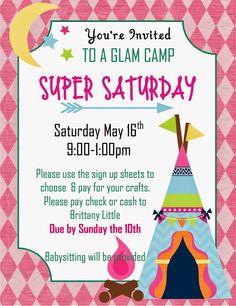 Super Saturday for Relief Society (invites) Crafting in California