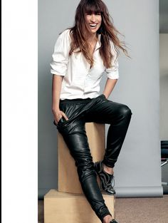 Love Caroline de Maigret's tomboy style in a spread for Elle Belgium, Shot by Nico. // White button-down, baggy leather pants, studded brogues.