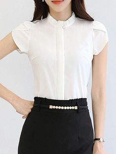 Specifications Product Name: Band Collar Ruffle Trim Plain Petal Sleeve Blouse Weight: Sleeve Type: Petal Sleeve Sleeve: Short Sleeve Embellishment: Ruffle Trim Pattern Type: Plain Material: Chiffon Collar&neckline: Band Collar Occasion: Date Season Business Casual Outfits, Stylish Outfits, Fashion Outfits, Blouse Styles, Blouse Designs, Ikkat Dresses, Petal Sleeve, India Fashion, Ruffle Trim