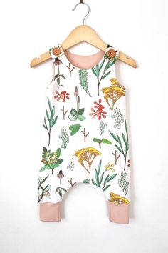 Handmade Organic Cotton Botanical Print Romper | LolaandStella on Etsy