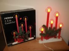 Vtg NOMA 5 Light Red Christmas Halos Candolier With Holly & Orange Bulbs In Box Vintage Christmas Lights, Old Christmas, Window Candles, Menorah, Bulbs, Christmas Decorations, Orange, Box, Lightbulbs
