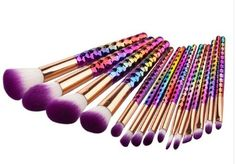 Unicorn and Rainbow Spiral Handle MakeUp Brushes Flawless Blending Tool Kit Set at Crafty Beeswax | Low Prices on Gifts, Jewelry, Toys, Phone Cases, Pop Sockets, Arts and Crafts, Home, Garden, and much more