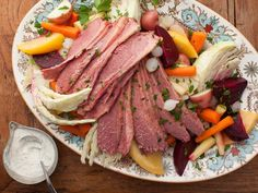 New Hampshire Boiled Dinner -- Feed a crowd the NH way with moist, tender corned beef, veggies cooked in beef broth and a tasty horseradish sauce. #AcrosstheCountry