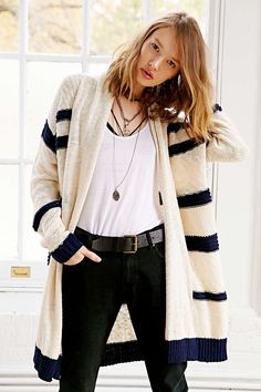 Sloane Rogue Striped Open-Front Cardigan Sweater - Urban Outfitters