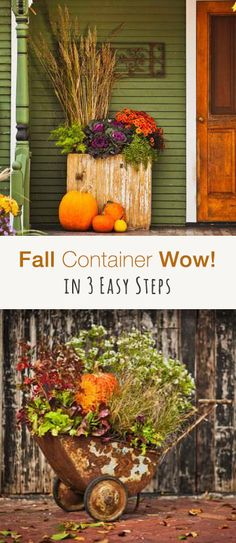 22 beautiful fall planters for easy outdoor fall. Black Bedroom Furniture Sets. Home Design Ideas
