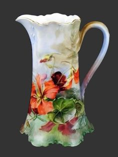 Antique Limoges hand-painted and signed pitcher Delft, Art Nouveau, Antique China, Vintage China, Antique Dishes, Porcelain Ceramics, China Porcelain, Painted Porcelain, France Art