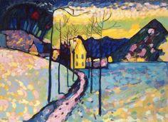 Wassily Kandinsky , Winter Landscape I, Kochel, Bavaria, 1909 Oil on cardboard Wassily Kandinsky, Fine Art Prints, Canvas Prints, Framed Prints, Monet, Painting Snow, Post Impressionism, Reproduction, Winter Art