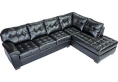 Angelo Bay 2 Pc Blended Leather Onyx Sectional - Sectionals
