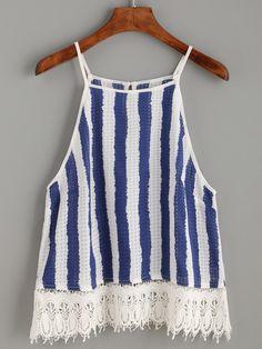 Blue White Vertical Striped Crochet Trim Cami Top