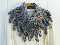 Crochet Button Scarf Cowl Heather Gray Wood by kathyscrochetcloset