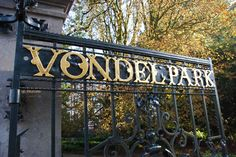Vondelpark gate door, Amsterdam, the Netherlands, typeface; unknown