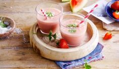 Go loco for coco with Alpro Plain with Coconut Big Pot in this fresh smoothie Smoothie Blender, Smoothie Diet, Smoothie Recipes, Healthy Breakfast Smoothies, Healthy Drinks, Watermelon Smoothies, Smoothies With Almond Milk, Food Inspiration, Food And Drink