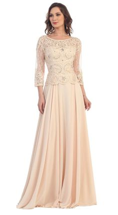 This beautiful mother of the bride long dress comes with 3/4 sleeve, lace appliques on top and pleated chiffon skirt material. Perfect for wedding, evening party and other special occasion. Fabric : Lace, Chiffon Closure : Zipper Back Length : Full Length Sleeve Style : 3/4 Sleeve Colors : Dusty Rose, Champagne, Royal Blue, Silver, Navy, Burgundy Sizes : M, L, XL, 2XL, 3XL, 4XL, 5XL Fully Lined Soft Cup Inserts Occasion : Formal, Evening Party, Mother of the Bride, Mother of the Groom…