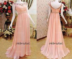 peach prom dress, long prom dress, formal prom dress, cap sleeve prom dress, chiffon prom dress, long prom dress, RE242 on Etsy, $198.00