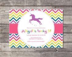Unicorn Rainbow Birthday Party Invitation  by PricklyPress on Etsy, $14.00