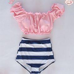 Swimwear High Waist swimsuit Two-Piece Bikini beach wear Ruffle vintage high waisted Biquini #style#swimsuit#womensfashion