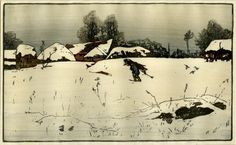 ✨ Allen William Seaby, British (1867-1953) - Winter landscape with a man carrying wood, Colour Woodcut, Signed in graphite below image, 22,1 x 36,3 cm