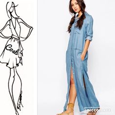 Sneak Preview... Maxi Light Denim Dress Cute! Cute! Maxi Light Blue Denim Dress. Dress has two high splits on each side, pockets in the front, long sleeves which can be rolled, & is light weight denim. Sizes Small, Medium, Large, & XL. Cosb Dresses Maxi