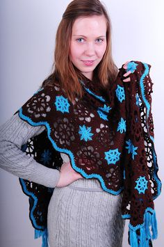 Blue and brown rectangular shawl
