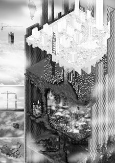 """Multipolarity of origins (Lost memories of Shanghai)"" / Wu Di and Gautier Piechotta Architecture Panel, Architecture Visualization, Architecture Drawings, Amazing Architecture, Landscape Architecture, Architecture Design, Landscape Diagram, Sci Arc, Isometric Art"