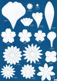 pattern of flowers and petals Crepe Paper Flowers, Felt Flowers, Diy Flowers, Fabric Flowers, Flower Petals, Flower Petal Template, Leaf Template, Templates, Paper Flower Patterns