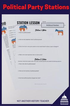 Get this is an amazing Political Party Stations lesson. This is a lesson sure to engage your students and get them out of their seats learning about the different political parties. Each station is set up to be independent of the previous stations. This is a full 55-minute lesson that will engage your students in modern-day government.