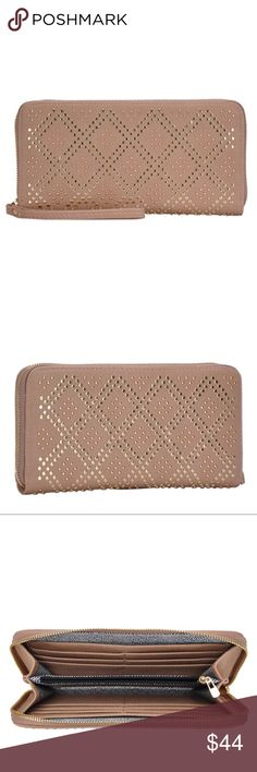 Riveted Zipper Wallet This pebbled vegan leather with rivet styling detail on both front and back, detachable Wristlet strap, and multi interior sections for all your necessities will definitely turn out to be a favorite item for everyday. MMS Design Studio curates the most sought after Premium Vegan Leather designer handbags and accessories out of Los Angeles California.  * 12 interior card slots * Center zipper Pocket * Zip around closer  * Fully lined * Size: 8x2x4 in MMS Design Studio…