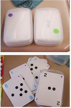 Use colored permanent marker to mark the case and the cards — that way they don't mixed up accidentally.
