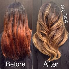 Guy Tang -My client flew in from Seattle to correct her dark orange brassy ombré to a more smooth golden sand tone with my signature dimensional color! I cut, colored and styled her!
