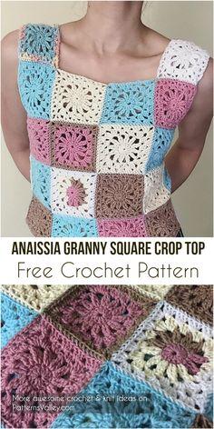 [Free Pattern] Anaissia Granny Square Crop Top + Diagram #crochetpattern #crochet #summeroutfit #crochetLove #fashion #style #square #GrannySquare