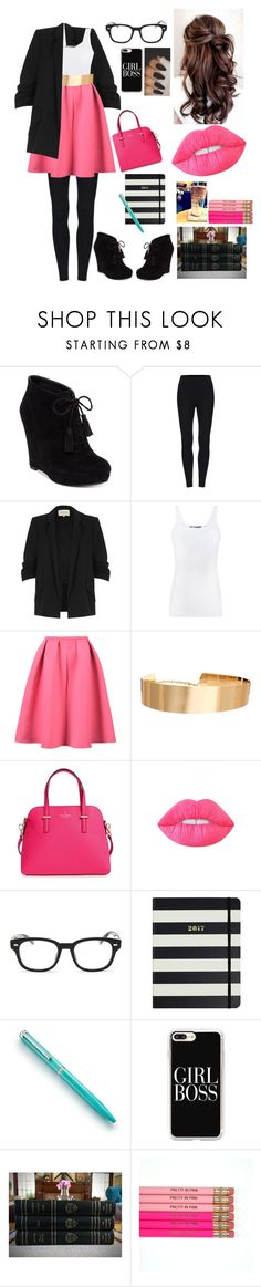 """""""Owning It, In Pink"""" by aaracarri ❤ liked on Polyvore featuring Jessica Simpson, River Island, Vince, WithChic, ASOS, Kate Spade, Lime Crime, Gucci, Tiffany & Co. and Casetify"""