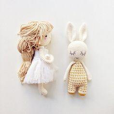 Amigurumi Rabbit & Doll - image only Amigurumi Doll, Amigurumi Patterns, Doll Patterns, Crochet Patterns, Love Crochet, Crochet Baby, Knit Crochet, Knitted Dolls, Crochet Dolls